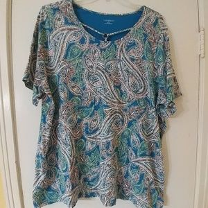 Catherines Paisley Knit Top 3X 22/24W